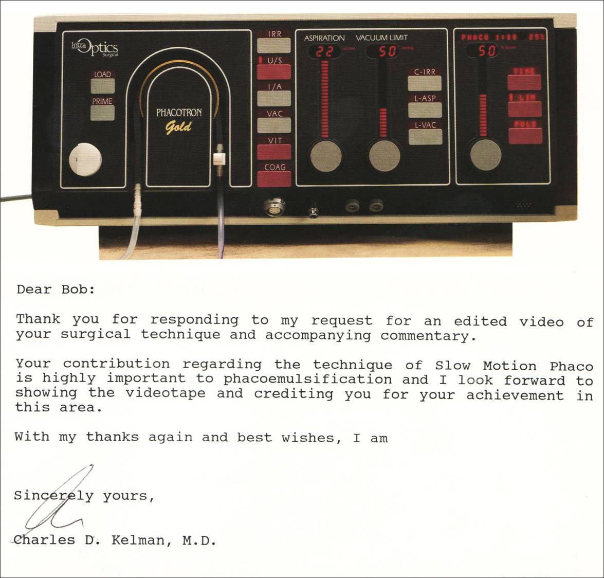 Letter to Bob Osher