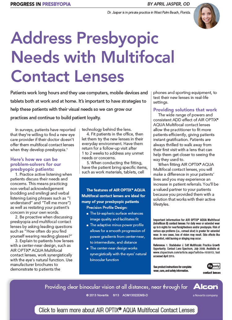 Click to learn more about AIR OPTIX® AQUA Multifocal Contact Lenses